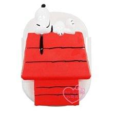 ♥小花花日本精品♥史努比躺姿紅色小木屋造型磁鐵吸鐵式收納盒紙條夾~3