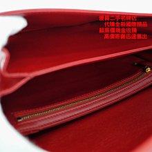 優買二手精品名牌店 CELINE TRIOMPHE Box 紅 大款 牛皮 肩背包 斜背包 LISA款 學院包 展示品