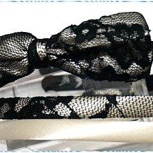 ☆POLLY媽☆歐美BRASH黑色蕾絲絲緞底蝴蝶結、象牙白絲緞窄版髮箍3件一組