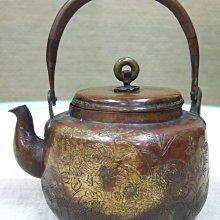 日本江戶時期貼金紅銅茗壺