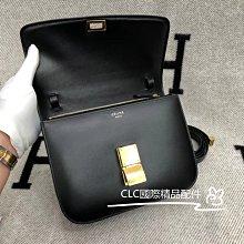 二手正品 CELINE 塞林 Classic Box 中型 小牛皮 黑金 肩背包 斜跨包 豆腐包 189173