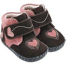 Ginny媽咪美國【Pediped】全新正品真皮嬰兒鞋 Lilah 咖啡色愛心高筒學步鞋12-18M現貨