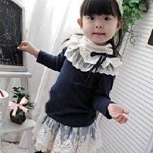 ❤厤庭童裝舖❤最後一件【F107】氣質深藍色蕾絲短裙(12號)~~~NG出清