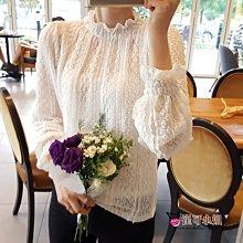 蕾絲網透甜美花邊真二件純色長袖蕾絲衫【HL0010】 - 崔可小姐