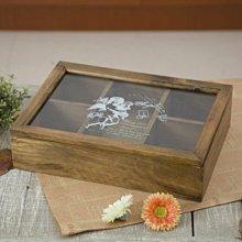 【遇見美好雜貨】A40801 復古玻璃原木五格飾品收納木盒