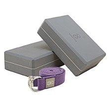 【VITASTYLE】2個灰色瑜珈磚 + 1條紫色瑜珈棉繩(鐡扣) 優惠套組【台灣製】