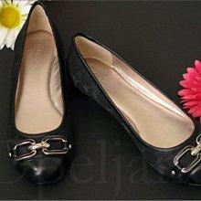 Coach Flat Shoes 黑色真皮織布雙C金屬釦百搭低跟懶人鞋娃娃鞋休閒鞋包鞋5號22號免運費 愛Coach包包