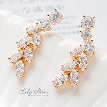 LilyStar.璀璨耀眼麥穗鋯石排列耳環 【YO18194】新增銀色