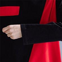 長袖圓領T恤 日系森女黑紅拼色寬鬆棉T恤 女上衣 中大尺碼 萌蔓物語【KX2221】文藝上衣