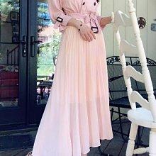 正韓 korea 下拼百摺雪紡風衣洋裝 婚禮 約會 小女人 粉色