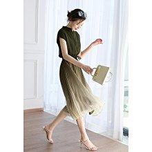 氣質飄逸集體都喜歡百褶漸變顯瘦系帶松緊腰連衣裙女春夏