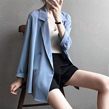 超適合外搭飄逸襯衫感春夏外套 寬鬆薄款雙排釦西裝外套 艾爾莎【TAE8745】