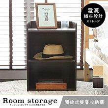 收納櫃 臥室【居家大師】二層附插座收納床頭櫃 置物櫃 邊櫃 櫃子 空櫃 書櫃 BO029