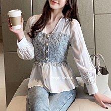 *Angel  Dance*雪紡長袖上衣(白色)@韓國 V領 氣質 襯衫 單排扣 開衫 設計師款 顯瘦@現貨+預購