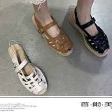 首爾美人✅ 韓國代購正品露趾草編厚底涼鞋復古羅馬涼鞋❤黑色/棕色/象牙白