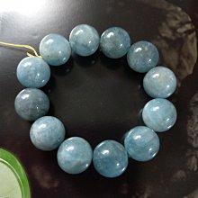 【開運如意閣】J354 天然海水藍寶石~圓珠約16mm*12顆手圍約17.5公分~代表和平 愉悅幸福~少見大顆寶石