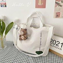 Cheri 韓國設計文青女孩綠圈圈英文字帆布包提袋 *圖片色* 社團商品【G0415-06】