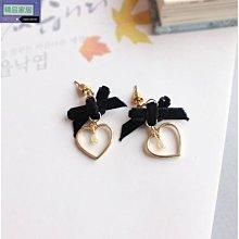 【精品家居】蝴蝶結絨布愛心造型耳針耳環hlkj1630