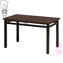 【X+Y】艾克斯居家生活館     餐桌椅系列-艾成 4*2.5尺餐桌(602烤黑腳/木心板).適合居家營業用.摩登家具
