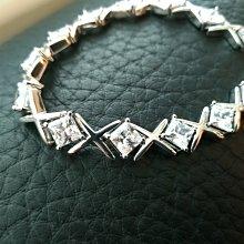 豪華手鍊4.5折交叉滿鑽石手鍊飾品配件男女適用珠寶方鑽手鍊手環純銀手鏈 滿鑽爪鑲高檔飾品高碳仿真鑽石 鉑金真鑽質感鑽寶