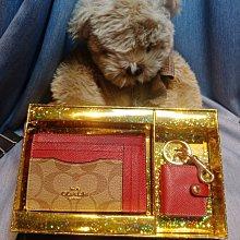 (雅峰精品)COACH 聖誕紅皮革+ PVC接防刮皮革證件夾零錢包+鑰匙圈禮盒套組