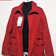 專櫃品牌 BOBSON 排釦毛呢 外套 羊毛-女款-紅-S【JK嚴選】鬼怪