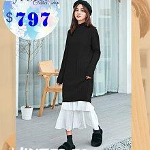 JYUN'S 新品秋冬新款韓版大碼女裝針織衫打底半高領毛衣裙中長款女連衣裙長袖洋裝 1色 現貨