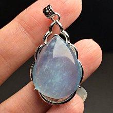 天然海藍寶吊墜 水滴形海水藍寶石925銀項鍊墜子 DIY吊飾掛飾飾品配件《舒唯水晶》
