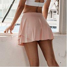 愛運動~新品雙層防走光運動短裙/彈力修身翹臀排汗透氣速乾/跑步綜合訓練瑜伽健身網球短裙褲  R3270