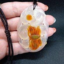 天然冰種玉隨 瑪瑙 白冰潤 玉隨掛件 項鍊 附布繩鍊 (60*45*11mm) 超美 分享價