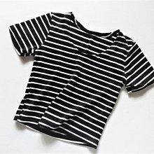 (((最後出清!!))) 二手 ~ 黑白條紋 短版 小可愛棉T