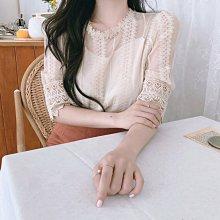 韓風蕾絲  OL春夏甜美輕透蕾絲上衣 艾爾莎【TAE6647】
