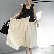 ►DR.DESIGN│DR32611-小眾文藝日系 夏暗黑風 割邊明線 顯瘦背心 天絲拼接純棉 洋裝 小眾設計 背心裙