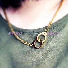 KOKO精品 潮牌潮牌原創PUT DOWN 信仰凹刻字母古銀復古男女毛衣鏈 手銬情侶項鏈