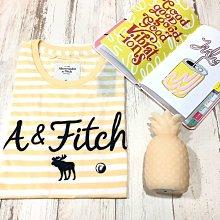 Maple麋鹿小舖 Abercrombie&Fitch * AF 黃色條紋電繡字母麋鹿短T  *( 現貨M號 )