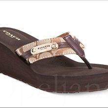 Coach POPPY Shoes卡其色輕便厚底人字夾腳拖鞋涼鞋海灘鞋楔型鞋7.5 8.5 8 24.5 25.5號免運