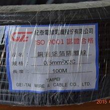 紀泰 銅網鋁箔隔離線 0.5mm²*2C、雙隔離電纜 0.5mm平方*2芯 每米零售 0.5mm*2C