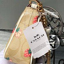 折扣款 在台現貨 全新正品 COACH 691 金屬鏈帶 LV麻將包 腋下包 HANDLE POUCH 草莓圖騰