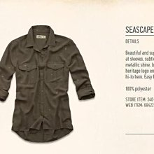 美國Hollister女裝seascape chiffon shirt S號橄欖色雪紡紗透透襯衫含運現貨在台