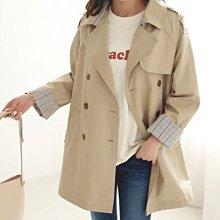 Bellee  正韓  格紋反摺袖排釦風衣外套    (2色)  【RQ99304】
