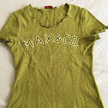 近全新專櫃真品~MAX&Co.草綠色滾邊短袖毛衣SIZE:S/義大利製made in Italy~台北市/新店區可面交