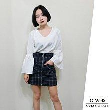 GW 藍色 學院風 格紋 高腰短裙 包臀裙 半身裙 秋冬 英倫風 拉鍊造型 F尺寸 GUESSWHAT