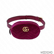 【WEEKEND】 GUCCI GG Marmont 天鵝絨 腰包 紫紅色 Melody 孫芸芸