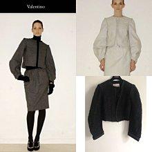 義大利真品 Valentino 頂級主打款歐根紗黑軟呢毛料短外套罩衫