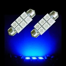 【PA LED】雙尖 36MM 酷炫 藍光 6晶 SMD LED 室內燈 化妝燈 腳踏燈 牌照燈 行李箱燈 迎賓燈