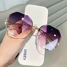 太陽鏡女年新款韓版潮淺色透明墨鏡女防紫外線網紅款無框眼鏡