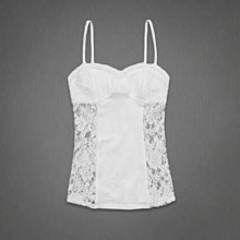 美國Abercrombie & Fitch女裝Shea Tank S號性感蕾絲公主必備白色彈性單穿小可愛含運在台