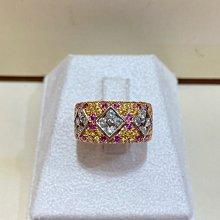 84分天然鑽石戒指,搭配1.48克拉粉紅鋼玉加上黃鋼玉超值優惠價45800元,只有一個要買要快厚實戒台,豪華寬版線戒款式,搭配18K玫瑰金戒台,特殊款式