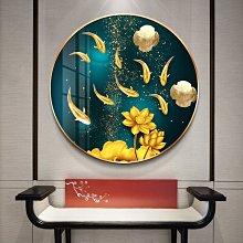 油畫新中式圓形裝飾畫九魚圖玄關餐廳掛畫客廳背景墻招財壁畫寓意好