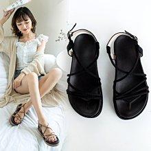 夏季新款簡約交叉厚底鬆糕綁帶羅馬鞋 涼鞋 涼拖 涼拖鞋 流行 韓 韓版 顯白 繫帶 鬆糕鞋